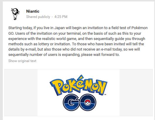 The Pokémon Go Japanese Field Test Has Begun