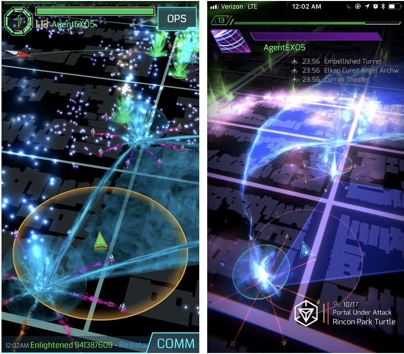 Ingress versus Ingress Prime, early beta screenshot, image credits to Fev Games
